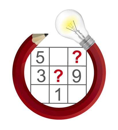Sudoku Puzzle Grid and Creative Pencil with bulb. Illustration of Pencil in circle shape with lightbulb and sudoku. Vector available.