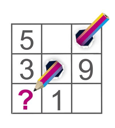 Sudoku Puzzle Grid and Crazy Pencil. Colorful Pencil ripped paper. Vector available.