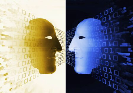 wo anonymous masks with binary code. Two 3d stylized male faces symbolizing meeting two people on cyberspace, anonymous dialogue social network.