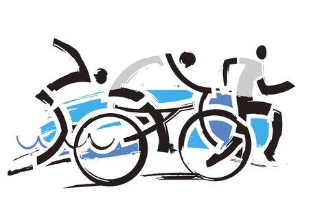 Triathlon Racers, expressive symbol. Three triathlon expressive stylized athletes. Isolated on white background. Vector available.
