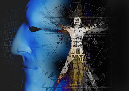 Vitruvian Man of Digital Age with anonymous mask. Futuristis Illustration of vitruvian man with binary codes and 3d human head.