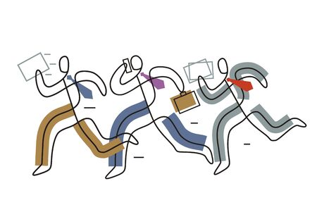 Business people running in a hurry. Three businessman with suitcase and papers, lineart stylized. Isolated on white background. Vector available.