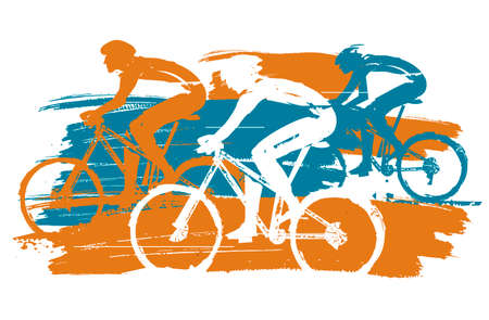 Three cyclists, mountain bike race, expressive stylized. Three cyclists in full speed. Imitation of hand drawing. Isolated on white background. Vector available.