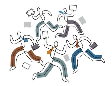 Deadline, chaos in business, people in a hurry. Five business people in stress running around with papers, line art stylized. Isolated on white background. Vector available.