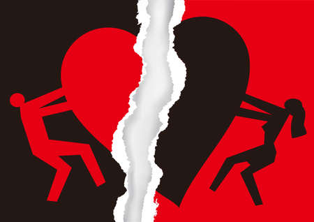 Red and black ripped paper with heart symbol. Torn paper with man and woman silhouettes and broken heart icon symbolizing the end of love. Vector available.