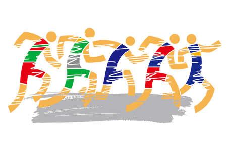 Running competition, marathon. Vector Illustration Keywords: Vector available.