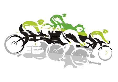 Cycling race at full speed going downhill. Vector Illustration Keywords: Imitation of hand drawing. Isolated on white background. Vector available.