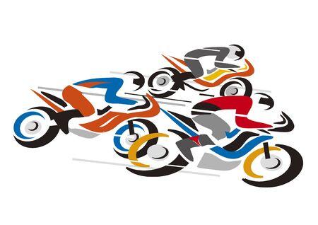 Competición de motos. Ilustración de tres motociclistas a toda velocidad. Vector disponible.