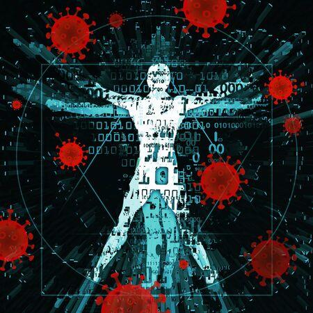 Vitruvian man of modern age, victim of coronavirus pandemic. Illustration of vitruvian man with binary codes and coronavirus signs.