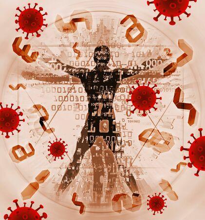 Victim of coronavirus pandemic, human of modern age. Illustration of vitruvian man with binary codes, digital numbers and coronavirus signs.