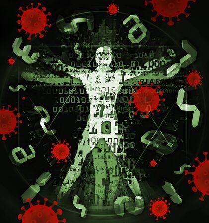 Vitruvian man of modern age, victim of coronavirus pandemic. Illustration of vitruvian man with binary codes, digital numbers and coronavirus signs.