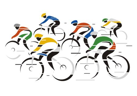Cycling race. Stylized colorful drawing of road cyclists at full speed.Isolated on white background. Vector available. Ilustração Vetorial