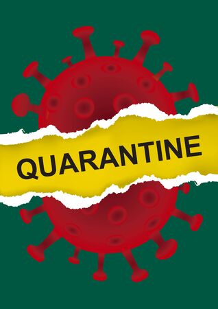 Torn Paper with Coronavirus Image and Quarantine Lettering. Expressive illustration symbolizing the destruction of coronavirus. Place for your text or image. Vector available.