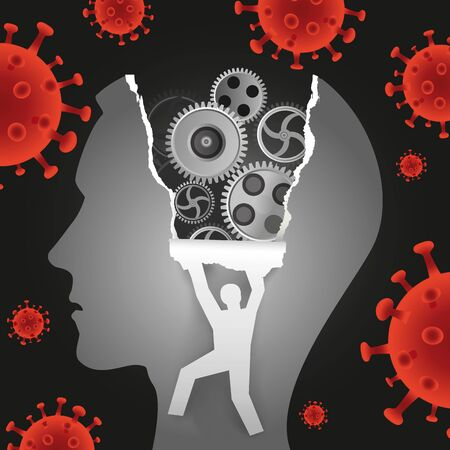 Psychological examination, coronavirus pandemic depression. Male Head In Profile With Gear And Male Silhouette Ripping Paper Background With Coronavirus. Vector available.