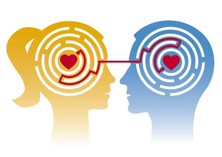 Loving couple, labyrinth of love. Stylized Male and Female Heads in Profile with Maze and Hearts. Concept for psychology of love. Vektorové ilustrace