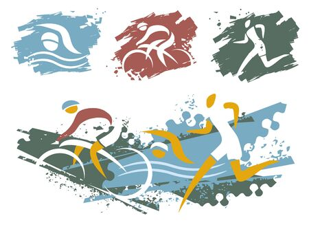 Triathlon race grunge symbols. Expressive illustration of swimmer, cyclist and runner on grunge background. Isolated on white background. Vector available.