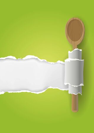 Green vegetarian Cookbook background. Torn paper with wooden spoon. Place for your text or image. Vector available
