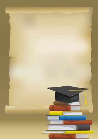 Parchment paper with graduation cap on stack of books. Illustration for graduation announcement. Vector available.