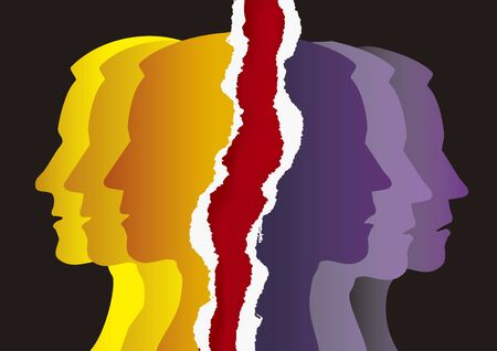 Schizophrenia, manic depression, male head on white background. Illustration Keywords: Concept symbolizing schizophrenia, dementia, depression.
