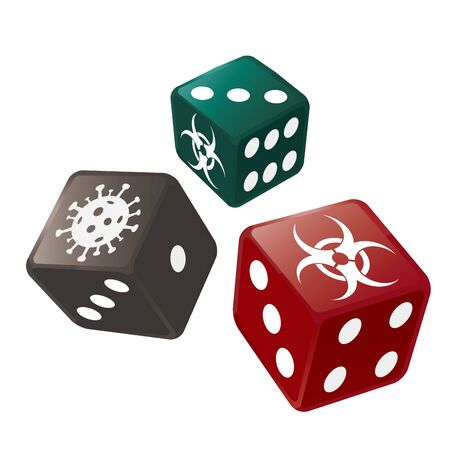 Casino Dice with biohazard and coronavirus symbols. Illustration of three colorful dices symbolizes the risk of health during a pandemic. Vector available.
