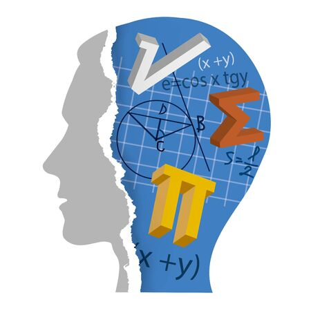 Student of Mathematics, education concept. Torn paper stylized male head with mathematics symbols and notes. Vector available.