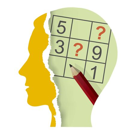 Male head with sudoku and Pencil. Illustration of Stylized torn paper male head silhouette with sudoku and pencil. Vector available. Vektorové ilustrace