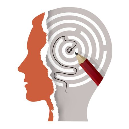 Male head silhouette and solved labyrinth. Illustration of Stylized torn paper male head silhouette with maze and pencil. Psychology and intelligence Concept. Vector available.