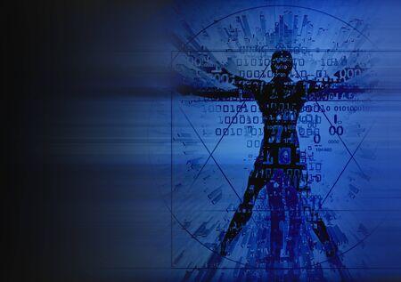 Futuristic Vitruvian man silhouette on dark blue background. Illustration of vitruvian man with destroyed binary codes symbolized digital age.