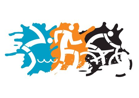 Three Triathlon racers. Expressive dynamic drawing Three triathlon athletes on the grunge background. Vector available.