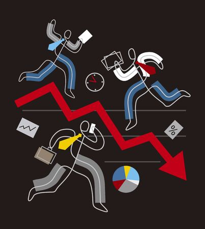 Decline arrow down, financial crisis concept, chaos in Business. Three business people in stress running around red market arrow. Lineart stylized. Isolated on black background. Vector available. Çizim