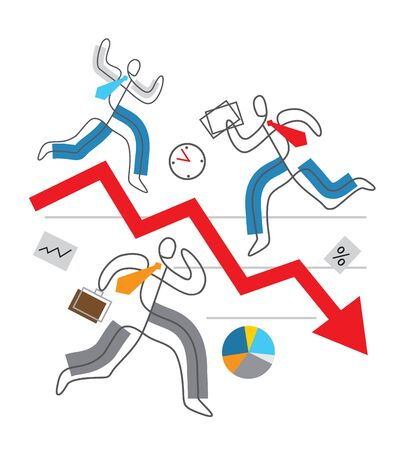 Decline arrow down, financial crisis concept, chaos in Business. Three business people in stress running around red market arrow. Lineart stylized. Isolated on white background. Vector available. Çizim