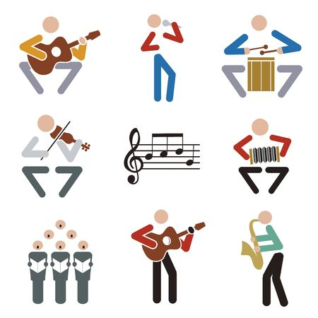 Music, musicians icons. Set of colorful musical symbols. Isolated on white background. Vector available.