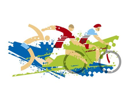 Triathlon Race, fitness outdoor activities. Expressive dynamic drawing Three triathlon athletes on the grunge background. Vector available. Vectores