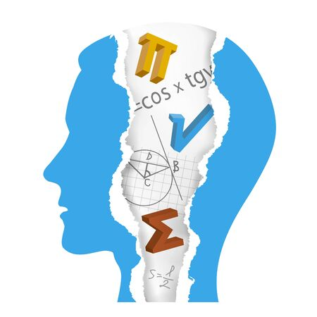Student of Mathematics silhouette, ripped paper, education concept. Torn paper stylized male head with ripped paper fragments with mathematics symbols, formulas and notes. Vector available. Vetores