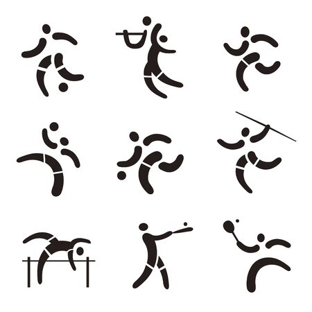 Sport fitness, expressive icons. Set of black Icons with ball sports, athletics, baseball. Vector available.