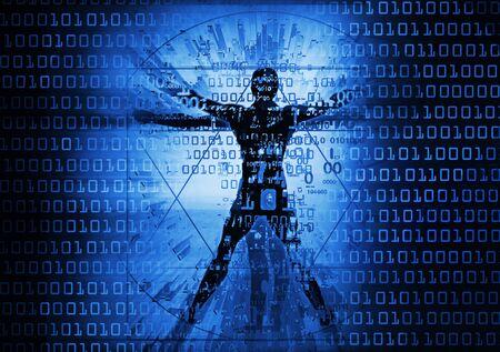 Modern Vitruvian man and computer data. Futuristic grunge stylized Illustration of blue vitruvian man with destroyed binary codes.