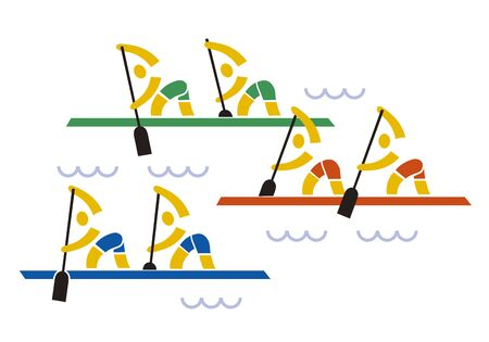 Rowing kayak competition. Stylized Illustration of three racing boats. Isolated on white background.Vector available.