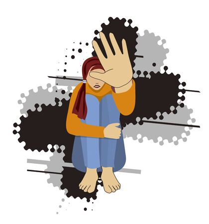 Girl, victim of domestic violence. Illustration of sitting young Helpless and terrified woman with arm in defensive position on grunge background. Vector available.