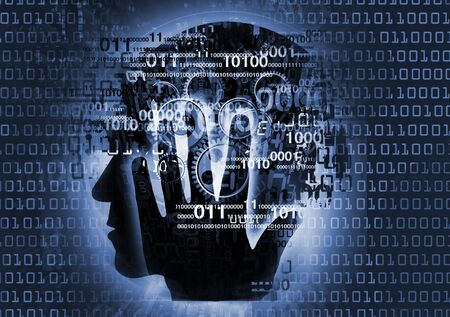 Programmer, computer expert, man silhouette. Stylized male head, programmer, computer expert silhouette holding his head, with binary codes and gear.