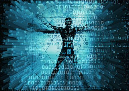 Modern Vitruvian man and computer data. Futuristic grunge stylized Illustration of blue vitruvian man with destroyed binary codes.