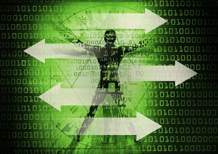 Modern Vitruvian man direction sign in cyberspace. Futuristic grunge stylized Illustration of green vitruvian man with binary codes and white arrows. Foto de archivo