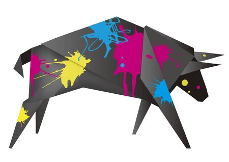 Black Origami bull with print colors. Stylized Illustration of paper bull with cmyk color splatters. Concept for presenting of color printing. Vector available.
