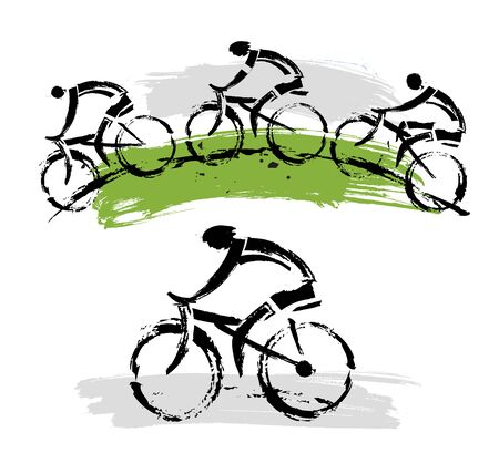 Mountain bikers on a hill. Two expressive grunge stylized illustrations of mountain bikers. Vector available. Ilustração