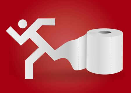 Toilet paper with icon of running man. Illustration of running male paper silhouette unwinding toilet paperon red background. Concept for intestinal trouble diarrhea. Vector available