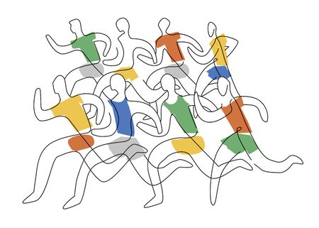 Running race marathon, line art stylized. Colorful lineart stylized illustration of eight running racers. Isolated on white background. Vector available.