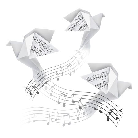 Three Origami doves with musical notes. Stylized illustration of paper pigeons on wave with musical notes. Poetic musical motif. Vector available.