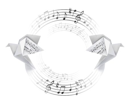 Round decorative frame with Origami doves with musical notes. Stylized illustration of paper pigeons and circle with musical notes. Poetic musical motif. Place for your text. Vector available.