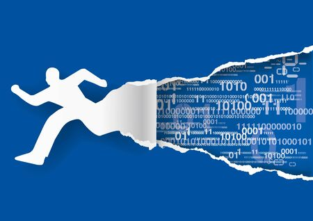 Fast internet conection, man and binary codes. Illustration of male silhouette tearing blue paper with binary codes. Concept for fast data flow. Vector available.