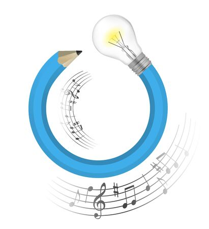 Musical idea Creative pencil. Illustration of blue twisted pencil with a light bulb and musical notes. Vector available.