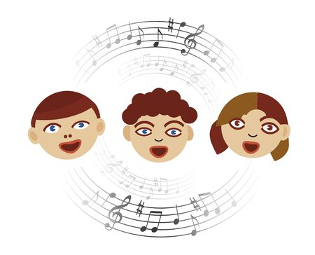 Three Singing children with musical notes. Stylized Illustration of Children's Choir with circle of musical notes. Isolated on white background. Vector available.